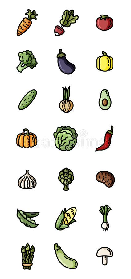 Groenten vlakke kleurrijke pictogrammen Reeks vectorpictogrammen voor Web royalty-vrije illustratie