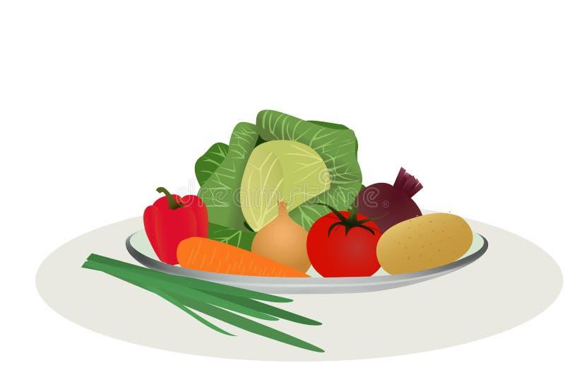 Groenten voor het koken van soep, een reeks groenten, vectorillustratie royalty-vrije illustratie