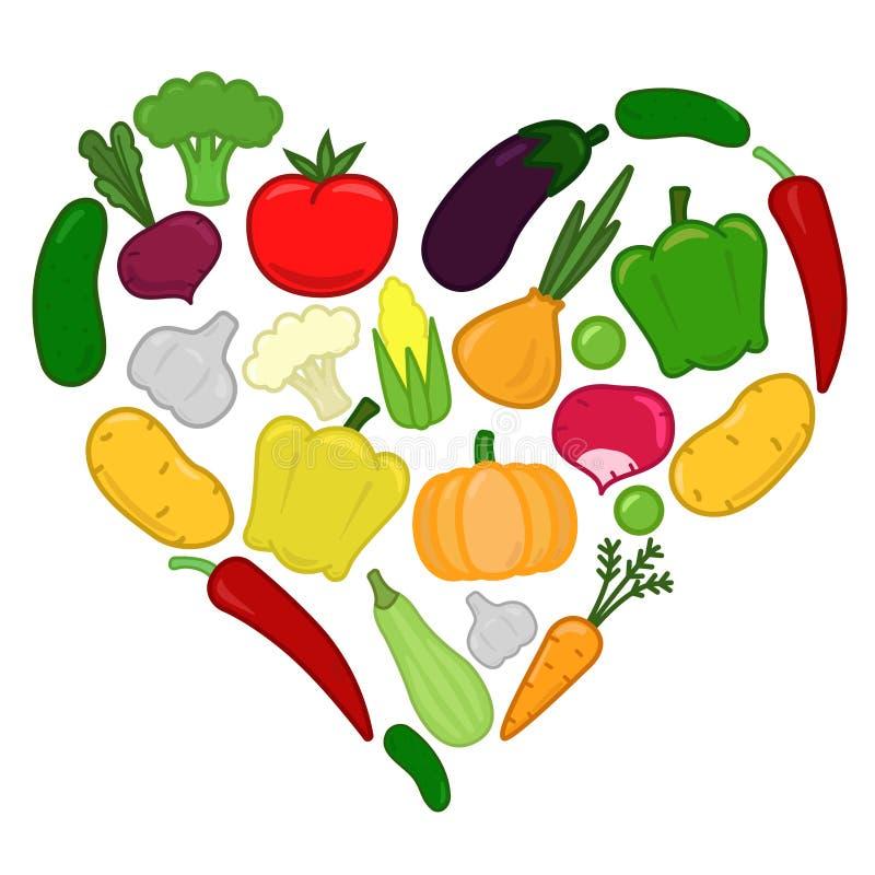 Groentenhart, geplaatste groenten royalty-vrije illustratie