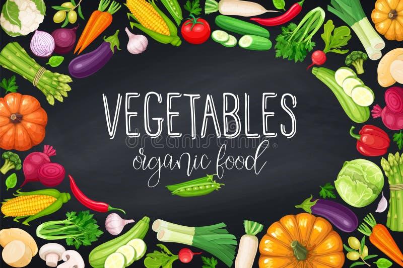 Groentenkader, gezond voedsel royalty-vrije illustratie