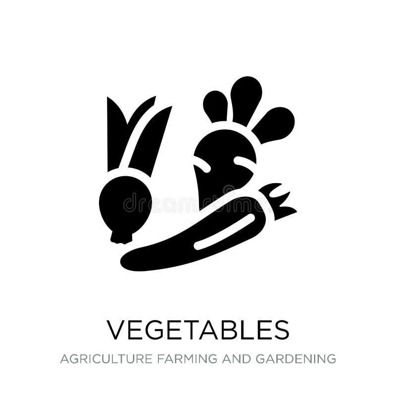 groentenpictogram in in ontwerpstijl Groentenpictogram op witte achtergrond wordt geïsoleerd die eenvoudig en modern groenten vec stock illustratie