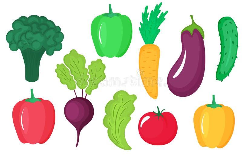 Groentenreeks van biet, broccoli, sla, wortel, aubergine, komkommer, tomaat, paprika die op witte achtergrond wordt geïsoleerd stock illustratie