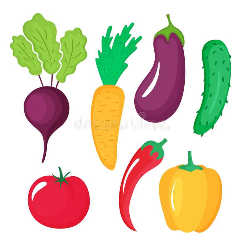 Groentenreeks van biet, Spaanse peper, wortel, aubergine, komkommer, tomaat, paprika op witte achtergrond wordt geïsoleerd die stock illustratie