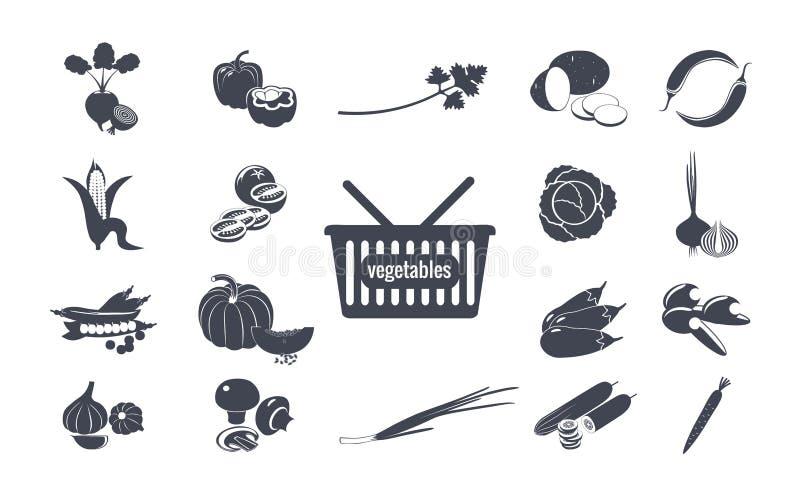Groentenreeks zwart-wit pictogrammen royalty-vrije illustratie
