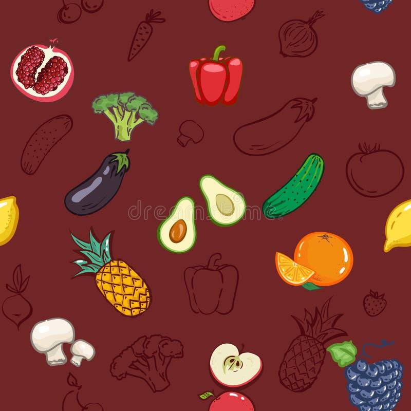 Groentenvruchten naadloze patroonachtergrond Kleurrijk malplaatje voor het koken, de vegetariër van het restaurantmenu, Natuurlij royalty-vrije illustratie