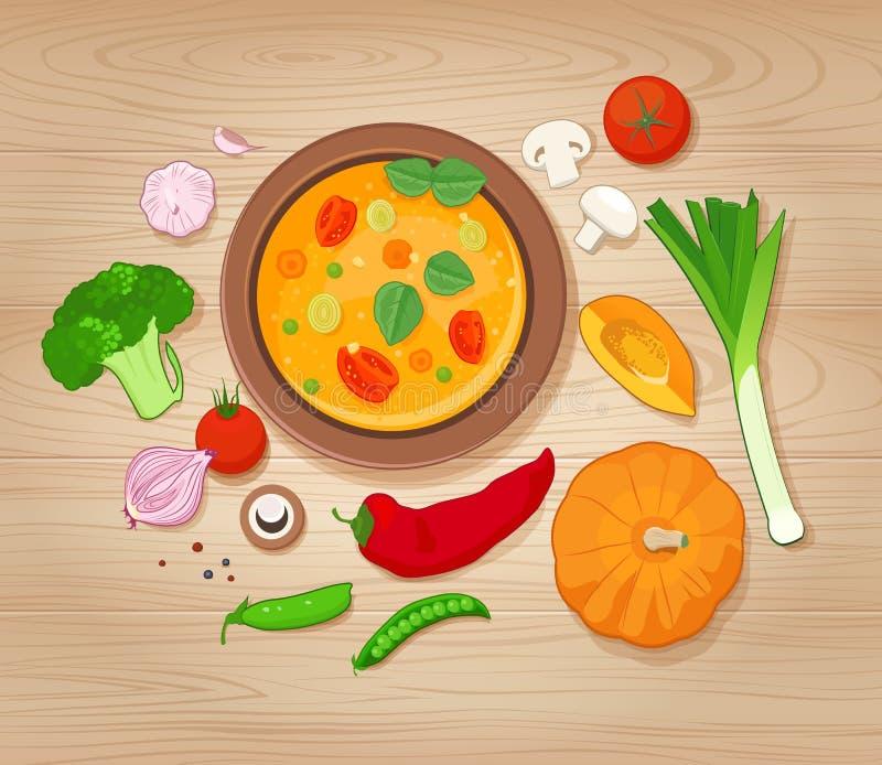 Groentesoep en Ingrediënten op Houten Achtergrond stock illustratie