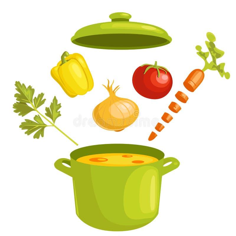 Groentesoep met ingrediënten stock illustratie