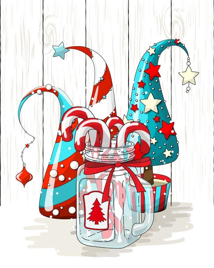 Groep abstracte Kerstmisbomen en glaskruik met suikergoedriet, beweging veroorzakende vakantie, illustratie royalty-vrije illustratie