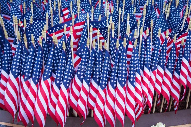 Groep Amerikaanse Vlaggen stock foto
