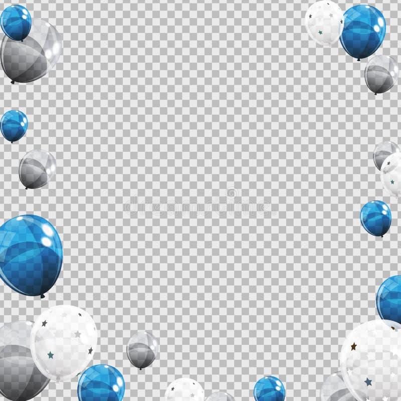 Groep Ballons van het Kleuren de Glanzende die Helium op Transperent-Achtergrond wordt geïsoleerd Reeks van Zilver, Blauw, Wit me royalty-vrije illustratie