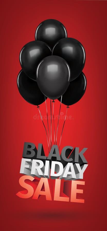 Groep ballons, verkoopbericht voor winkel Zwarte de vrijdag 3d brieven van de ballonsverkoop Sparen van de bedrijfs geldkorting k royalty-vrije illustratie