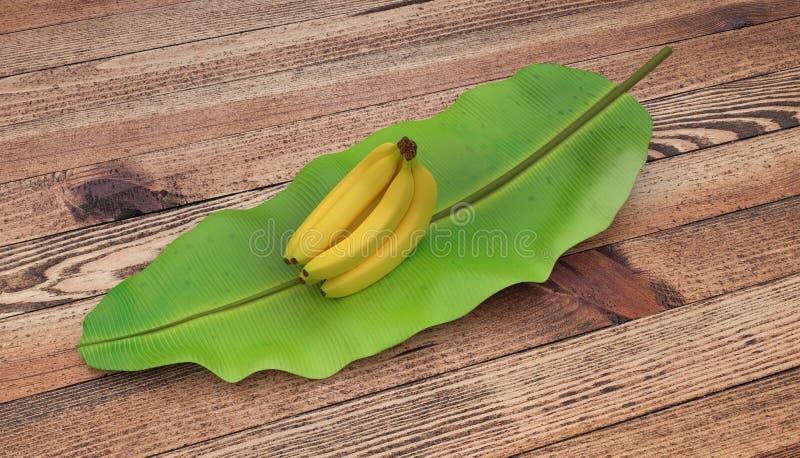 Groep bananen op banaanblad dat worden geplaatst Op houten lijst Ondiepe diepte van gebied Geïsoleerdj op witte achtergrond stock afbeeldingen