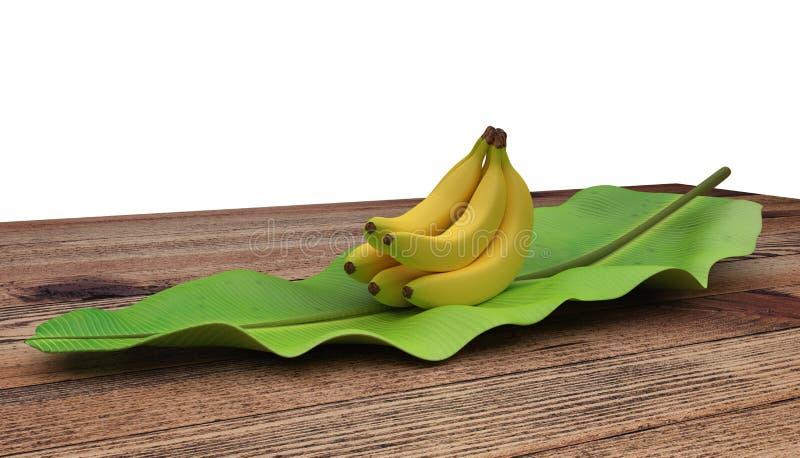 Groep bananen op banaanblad dat worden geplaatst Op houten lijst Ondiepe diepte van gebied Geïsoleerdj op witte achtergrond stock foto