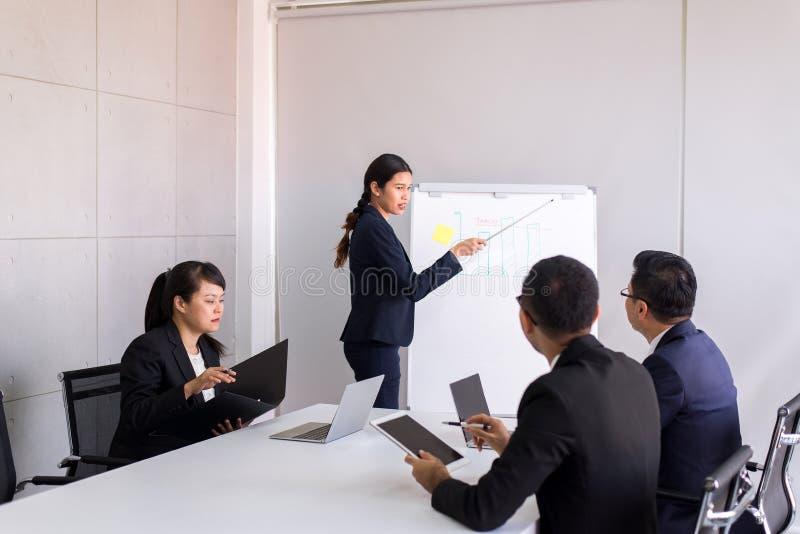 Groep bedrijfs Aziatische mensen die en het communiceren ontmoeten werken terwijl samen het zitten bij ruimtebureau, Groepswerkco royalty-vrije stock afbeeldingen