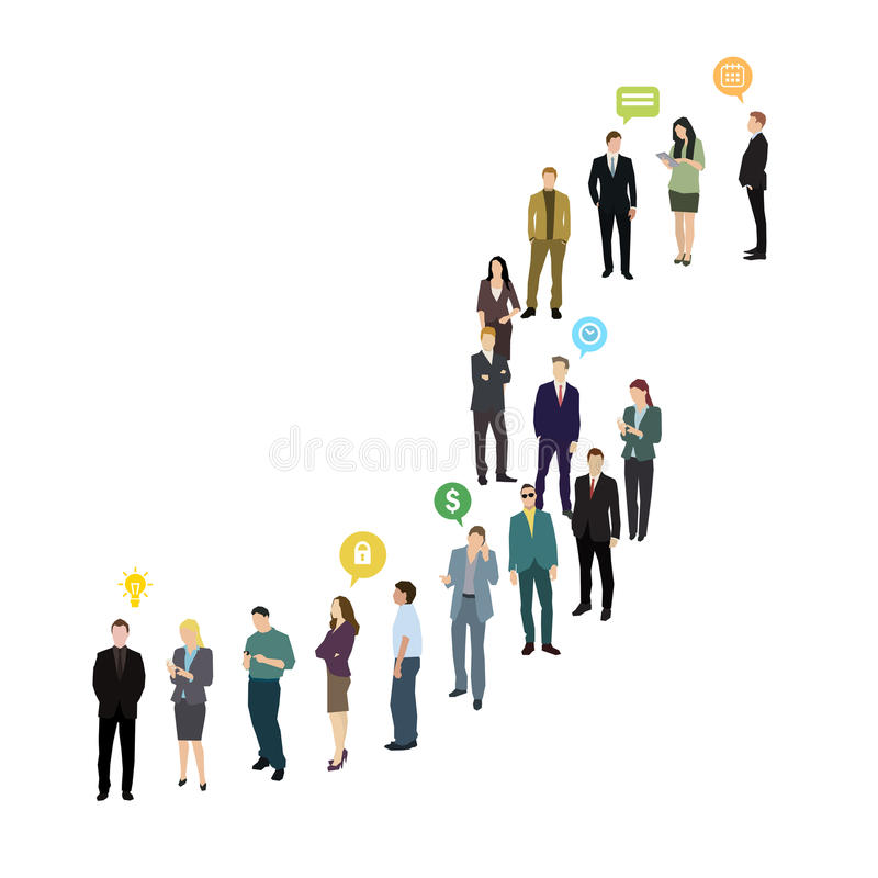 Groep bedrijfs en bureaumensen die zich in lijn bevinden royalty-vrije illustratie
