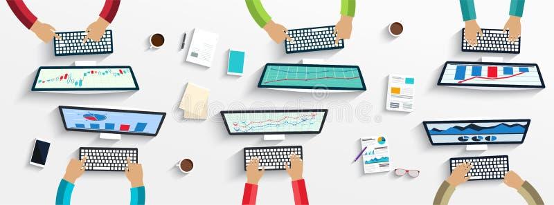 Groep bedrijfsmensen die gebruikend digitale apparaten aan laptops, computers werken stock illustratie
