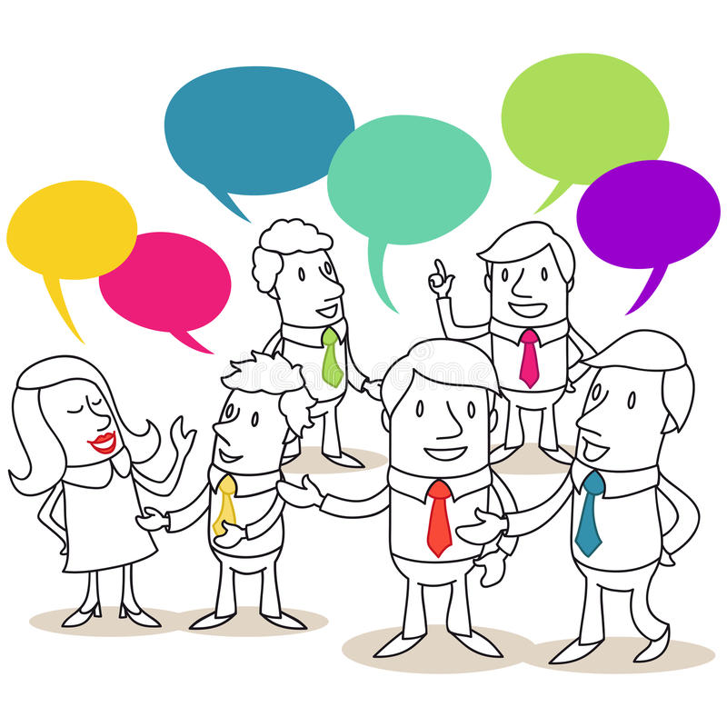 Groep bedrijfsmensen die gesprekken hebben vector illustratie