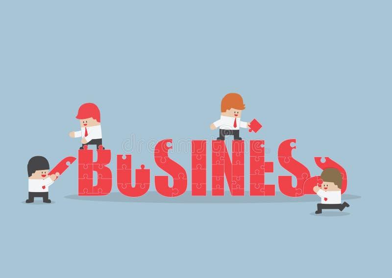 Groep bedrijfsmensen die puzzel van zaken assembleren wo vector illustratie