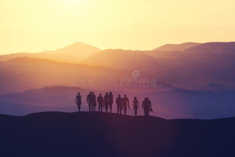 Groep bedrijfsmensen die zich op een heuvel bevinden stock illustratie