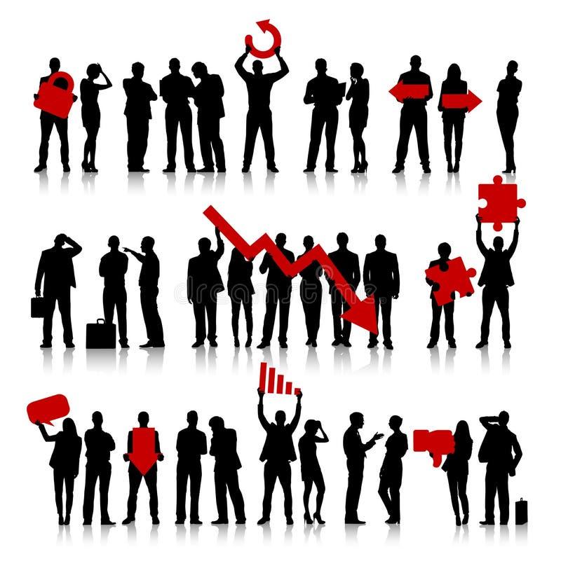 Groep Bedrijfsmensen en Mislukkingsconcepten stock illustratie