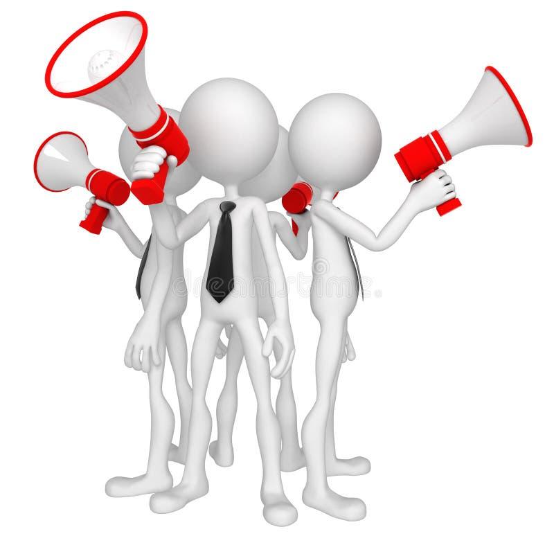 Groep bedrijfsmensen met megafoon stock illustratie