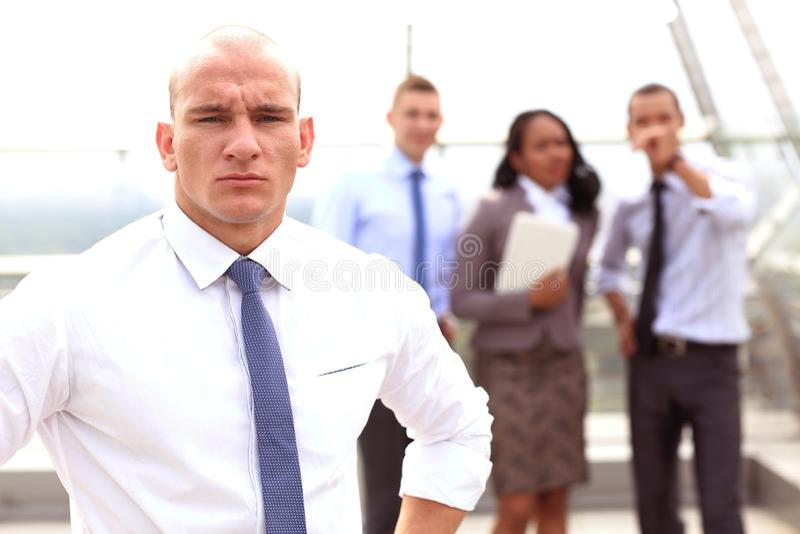Groep bedrijfsmensen met zakenmanleider royalty-vrije stock foto