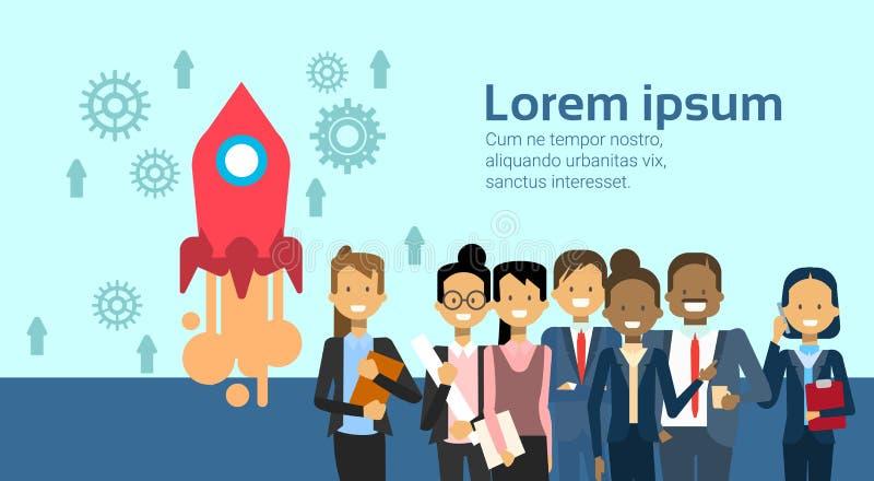Groep Bedrijfsmensen over Vliegend Ruimterocket teamwork startup concept vector illustratie