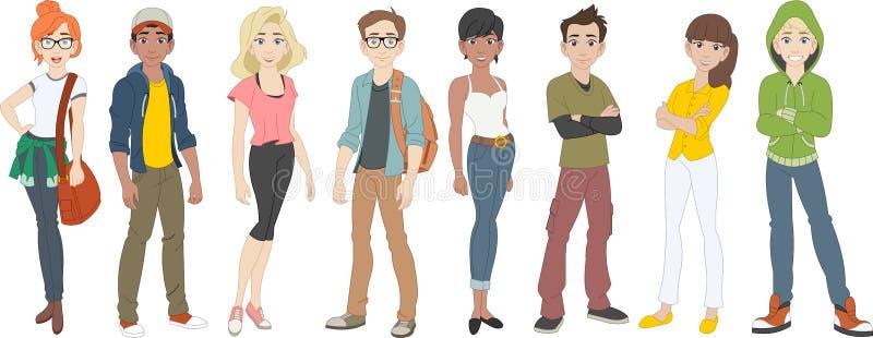 Groep beeldverhaaljongeren tieners royalty-vrije illustratie