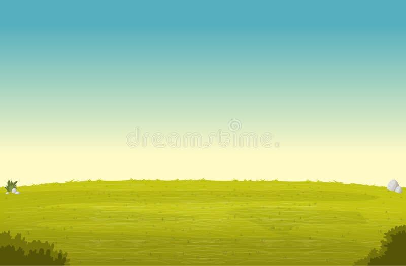 Groep beeldverhaalmensen op mooi strand Groen parklandschap Blauwe hemel op grasgebied vector illustratie