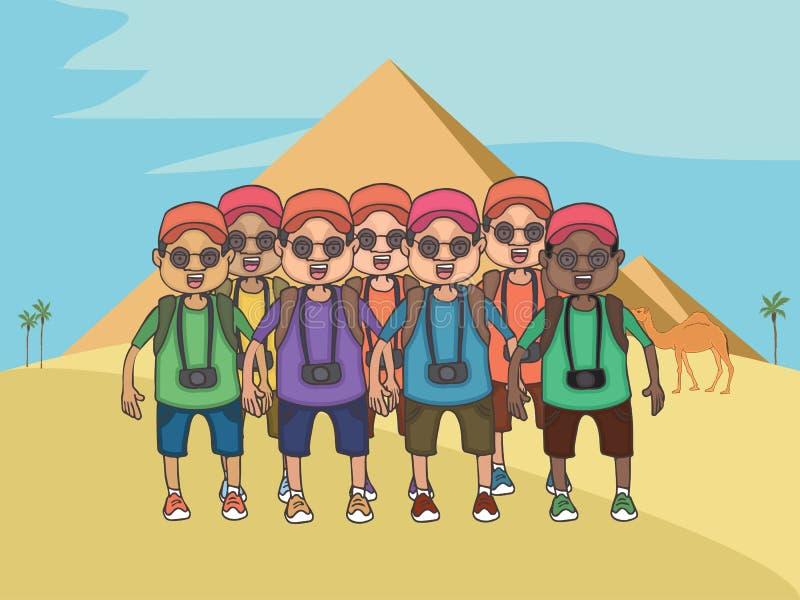 Groep beeldverhaaltoeristen bij Egyptische piramidesachtergrond royalty-vrije illustratie