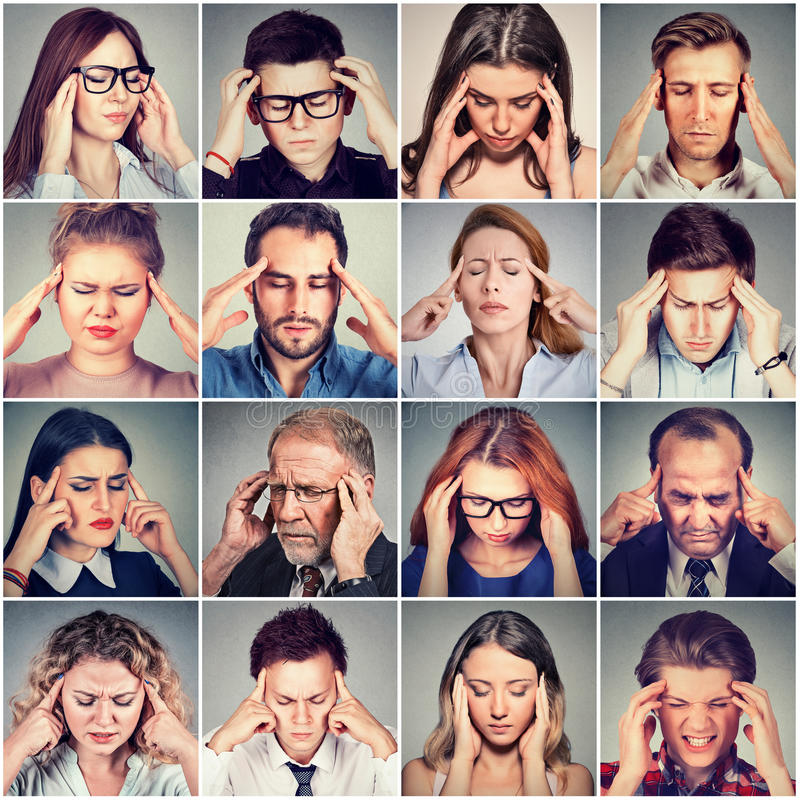 Groep beklemtoonde droevige mensenmannen en vrouwen die hoofdpijn hebben stock afbeelding