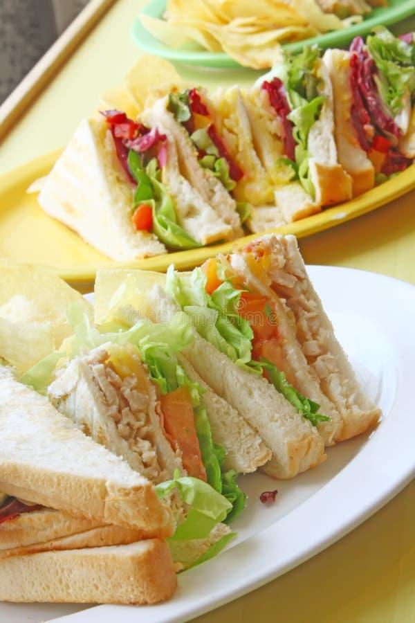 Groep Besnoeiing Geroosterde Sandwiches royalty-vrije stock foto's