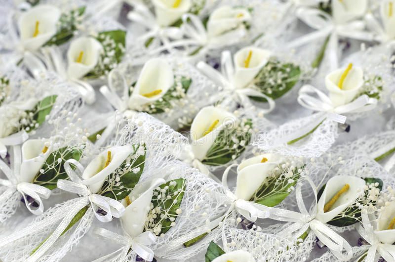 Calla Lelie boutonnieres stock afbeelding