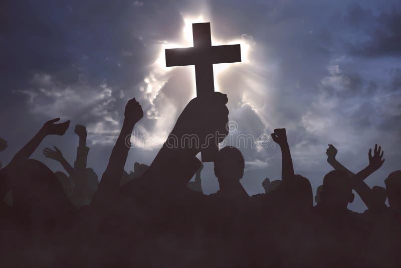 Groep christelijke mensen die aan Jesus-Christus bidden stock afbeelding