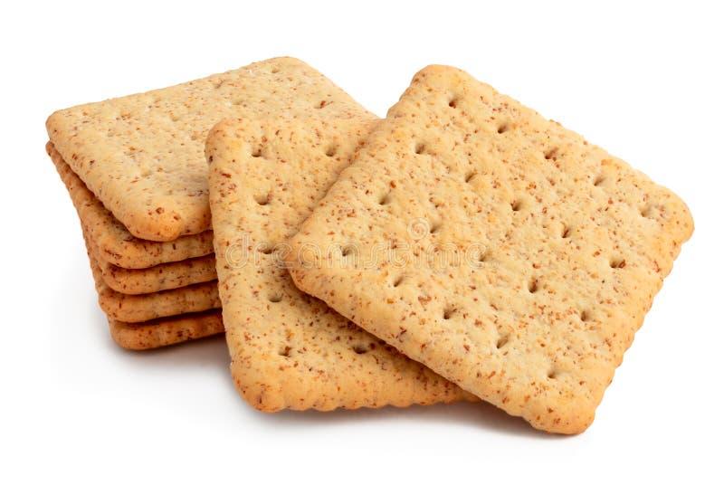 Groep crackers op wit wordt geïsoleerd dat stock fotografie