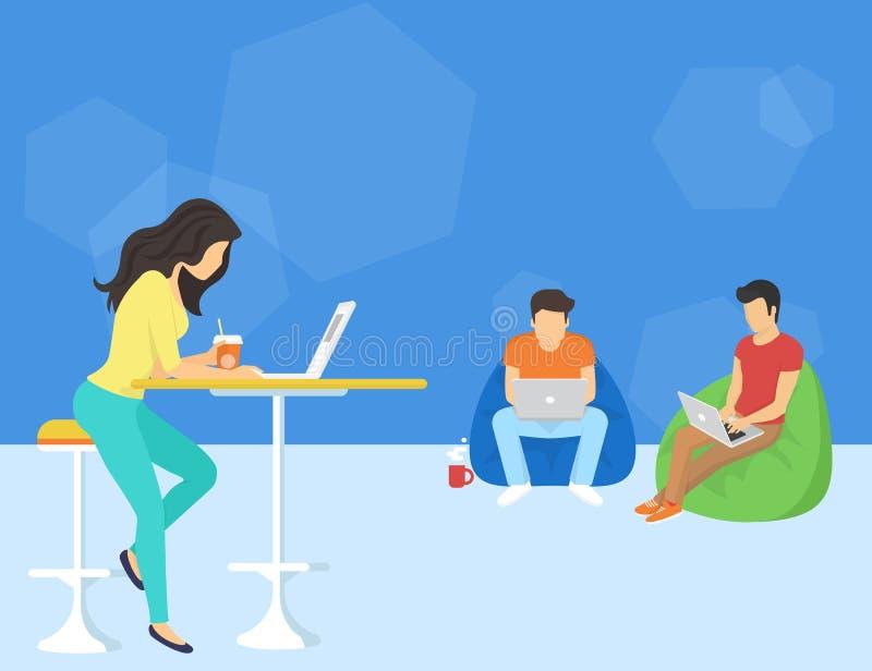 Groep creatieve mensen die smartphone, laptop en tablet de zitting van PC op de vloer gebruiken stock illustratie