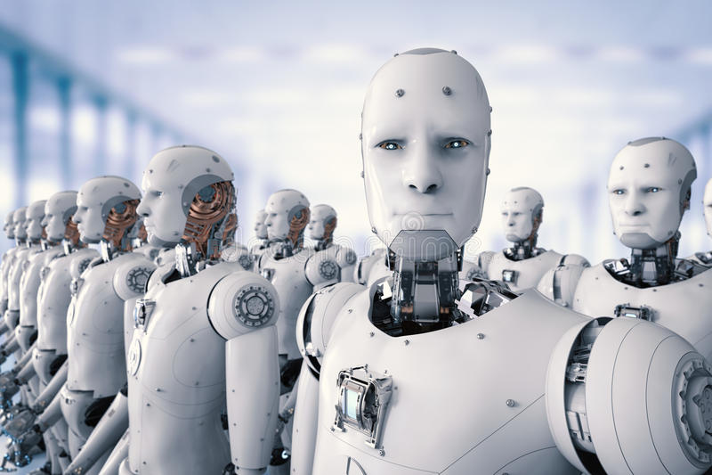Groep cyborgs in fabriek