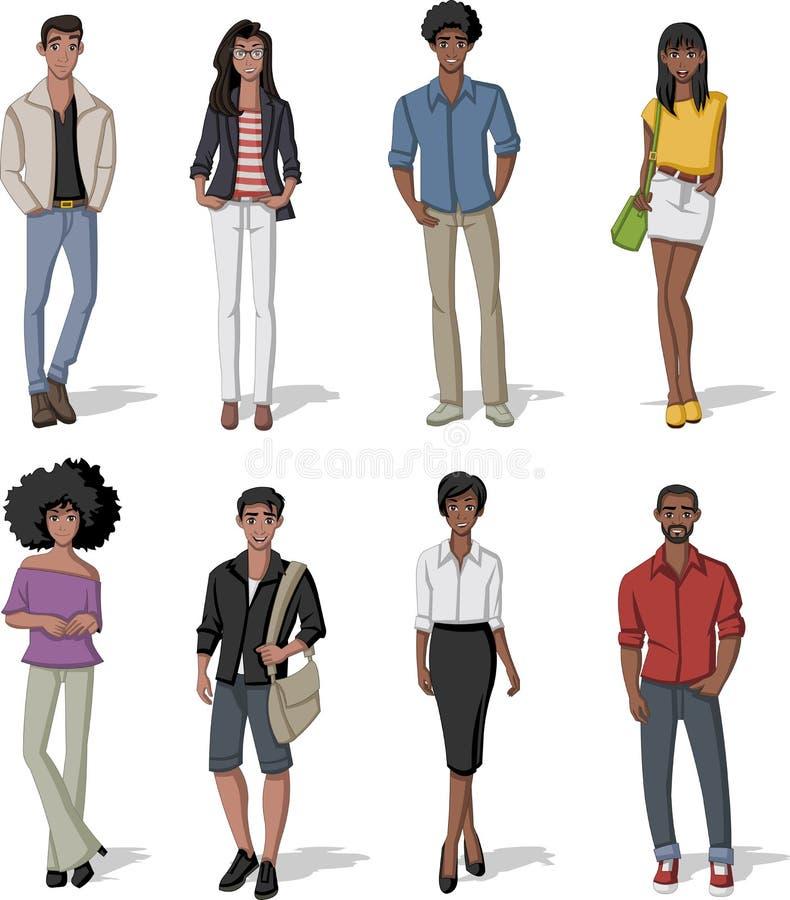 Groep de jonge mensen van het manierbeeldverhaal stock illustratie
