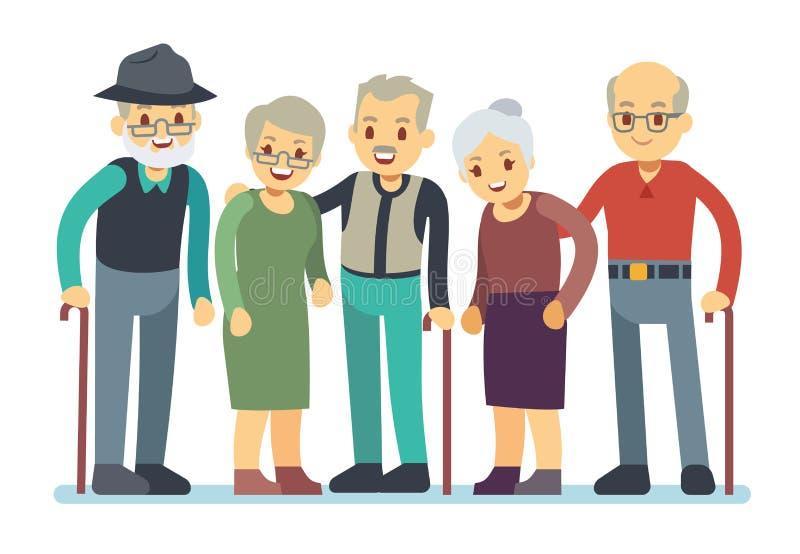Groep de oude karakters van het mensenbeeldverhaal Gelukkige bejaarde vrienden vectorillustratie