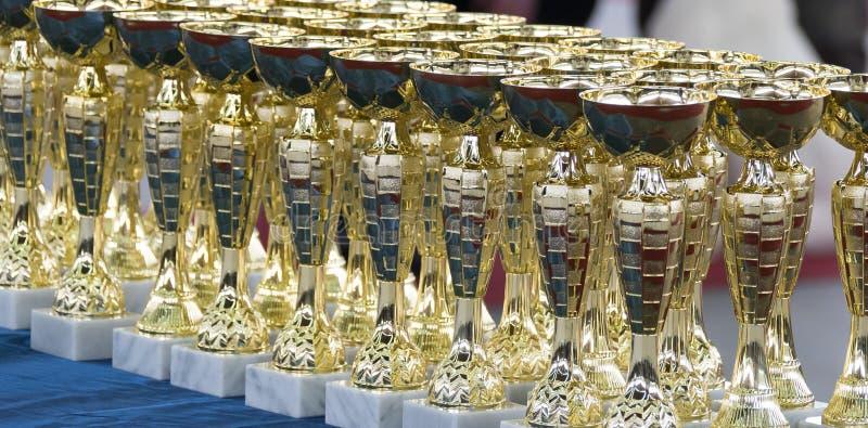 Groep de trofeeën stock afbeeldingen