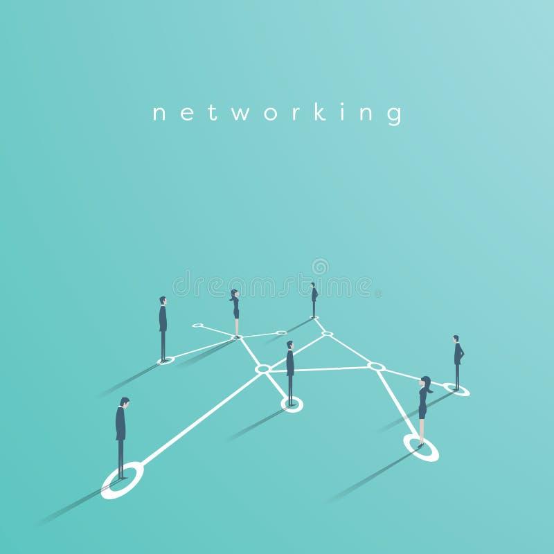 Groep die bedrijfsmensenvoorzien van een netwerk, contact opnemen vectorconceptenillustratie Symbool van mededeling, groepswerk stock illustratie