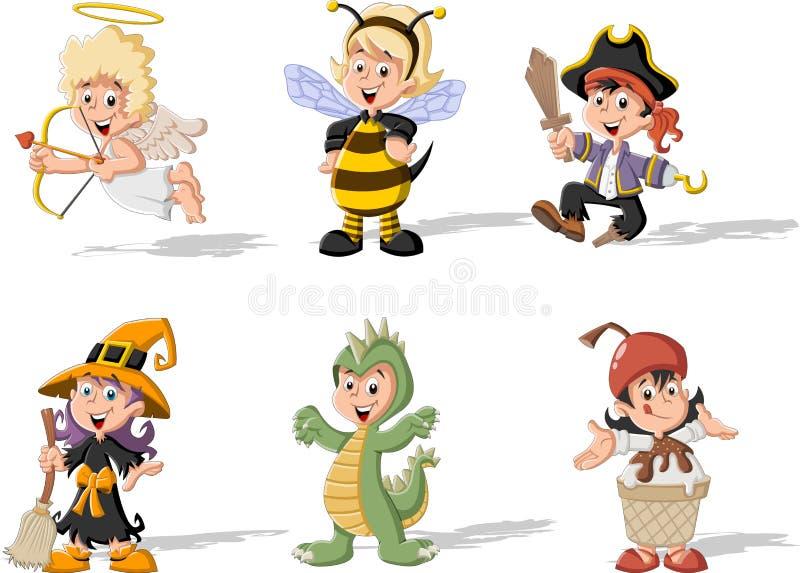 Download Groep Die Beeldverhaaljonge Geitjes Kostuums Dragen Vector Illustratie - Illustratie bestaande uit kinderen, pret: 54084496
