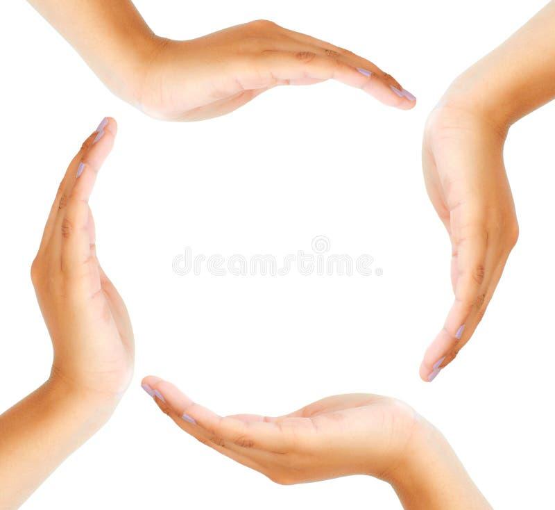 Groep die handen een cirkel vormt royalty-vrije stock foto's