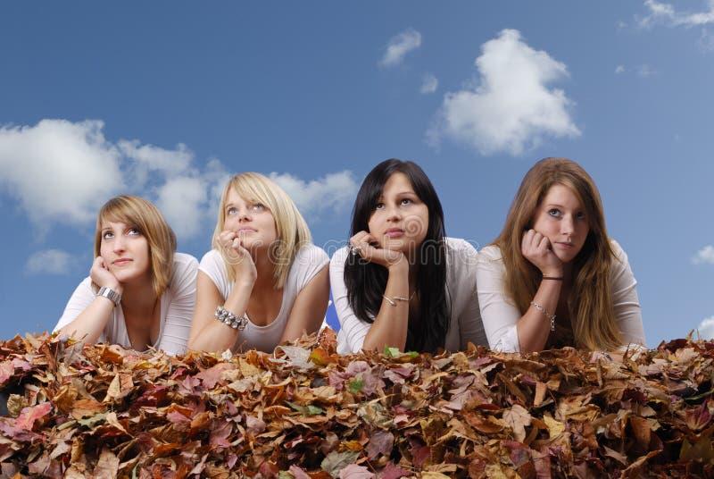 Groep die jonge vrouw in de herfstbladeren ligt royalty-vrije stock foto