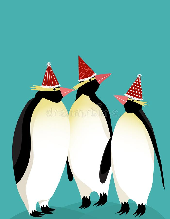 Groep die Keizerpinguïn de hoed van de Nieuwjaarpartij dragen vector illustratie
