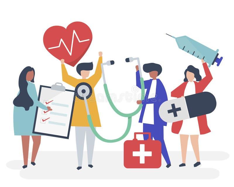 Groep die medisch personeel pictogrammen met betrekking tot de gezondheid dragen vector illustratie