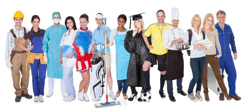 Groep die mensen diverse beroepen vertegenwoordigen