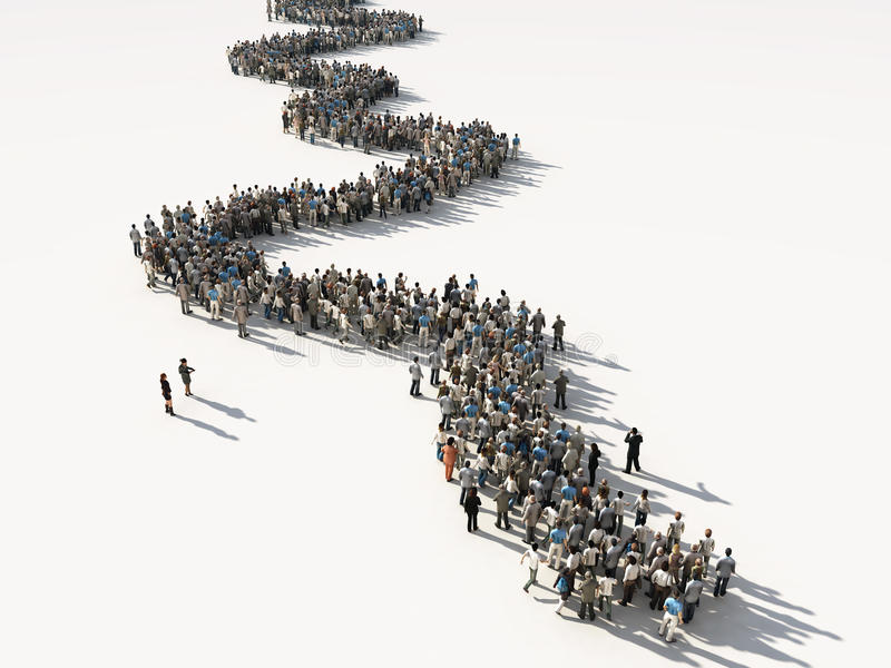 Groep die Mensen in Lijn wacht royalty-vrije illustratie