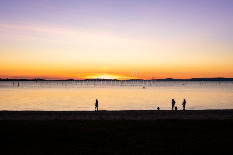 Groep die mensen op het strand bij zonsondergang lopen royalty-vrije stock afbeelding