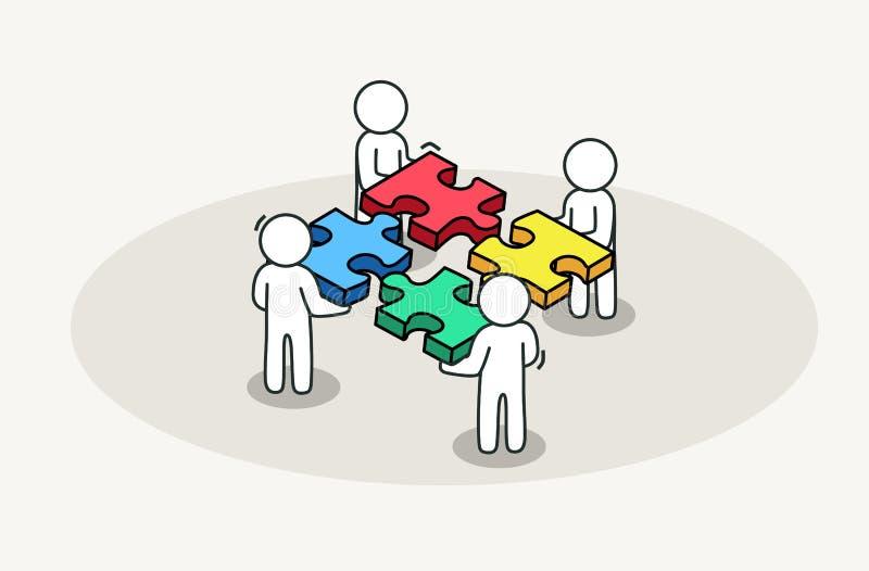 Groep die mensen puzzel assembleren Concept van de vennootschap en het bedrijfsoplossing stock illustratie